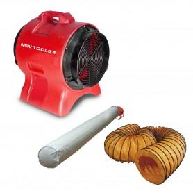 Ventilator 300mm - 750W met afvoerslang en filterzak MW-Tools MV300PPSET