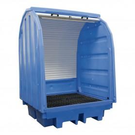 Opvangbak met harde cover voor  4 vaten van 200 lt. MW-Tools OPBH42
