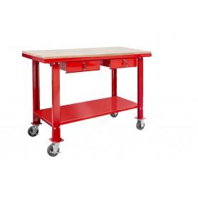 Werkbank 150 cm met wielen MDF werkblad 2 lades MW-Tools DER1500WR