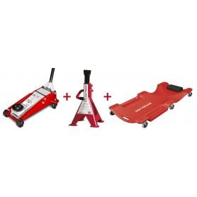 Set hydraulische krik, garagestand en montageligbed MW-Tools CATM300D SET4
