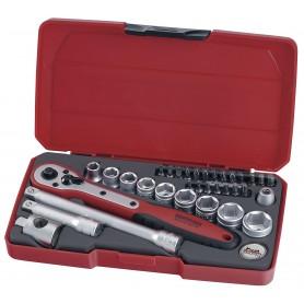 """Teng Tools T3834 Doppen- en bitsset 3/8"""" 8-19mm 34 dlg"""