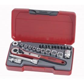 """Teng Tools T1424 Doppen- en bitsset 1/4"""" 4-13mm 24 dlg"""