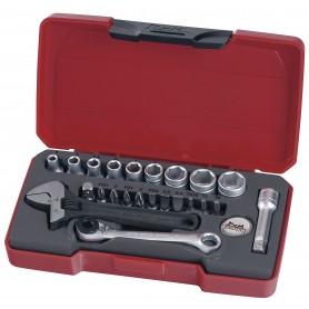 """Doppen- en bitsset 1/4"""" 4-13mm 23 dlg Teng Tools T1423"""