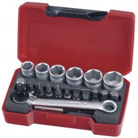 """Doppen- en bitsset 1/4"""" 8-13mm 19 dlg Teng Tools T1419"""