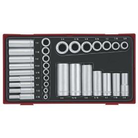 """Doppenset AF 1/4"""" + 3/8"""" 32dlg TC-tray Teng Tools TTAF3212"""