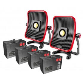 Pack 2 werklampen 50W + 4 losse accu's: MW-Tools WFL50LI-PACK2