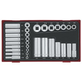 Doppenset Tc-tray 32dlg AF 1/4+3/8 kort lang Teng Tools TTAF32