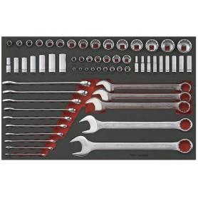 Set doppen & steekringsl. AF 62 dlg EVA-tray Teng Tools TTTEAF62